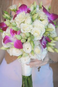 White Rose & Pink Orchid bouquet