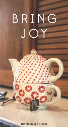 This holiday, choose to Bring Joy.  Ten Thousand Villages brings you fair trade, handcrafted gifts from a wonderful world.  #ShareConnection ~ Handmade in Vietnam, this teapot and cup set is perfect for your morning routine.