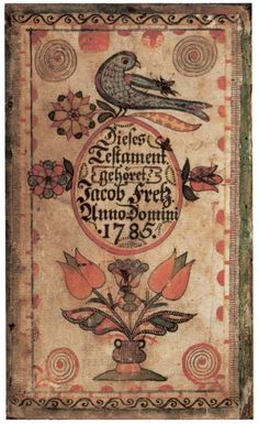 An ornate, hand-drawn bookplate, with birds, tulips, and gothic text in German.