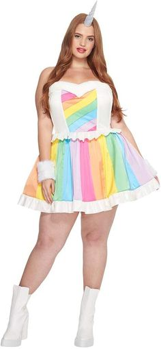 f224bcfb283 Melonhopper Plus Size Rainbow Rider Unicorn Costume Women s Dress  ad  Unicorn Halloween Costume