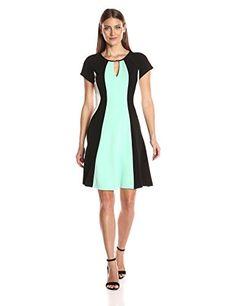 Sandra Darren Women's 1 Pc Short Cap Sleeve Fit and Flare Keyhole Color Block Dress - Side panels add flattering element Hidden zipper