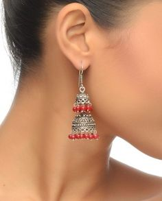 Double Jhumki Earrings With Red Stone Drops $49