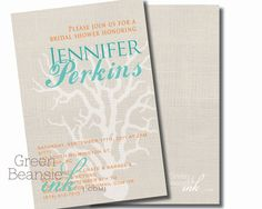 LINEN CORAL Printable Party Invitation. $16.00, via Etsy. Green Beansie Ink