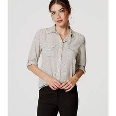 LOFT Crackle Utility Blouse (16.835 HUF) ❤ liked on Polyvore featuring tops, blouses, whisper white, button front tops, white long sleeve top, long sleeve tops, ruched long sleeve top and ruched sleeve top