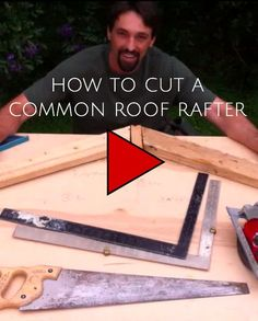Cut a Common Roof Rafter Tutorial by Aaron Friend, San Marcos, Texas - This is a video detailing the way to determine the length of a common rafter and how to cut it. Woodworking Plans, Woodworking Projects, Handyman Projects, Diy Projects, Roof Truss Design, Roof Trusses, Building A Shed, Building Ideas, Green Building