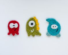 Padrão Crochê Monstros Applique Texto de um e dois Empresa -  /       Crochet Pattern Monsters Applique Text by one and two Company -