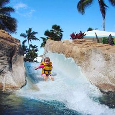 Looking for the ultimate waterpark fun in Maui? Wailea Canyon at the Grand Wailea Resort includes jungle pools huge slides a whitewater rapids slide a Tarzan pool with rope swing a sand beach waterfalls caves Jacuzzis an infant pool the worlds first water elevator Ana Puka slidea swim-up bar and a pool-side cafe. You must be a hotel guest to enjoy the slides.     #travel #travelgram #wanderlust #vacation #instatravel #adventure #travelphotography #Maui #beach #familytravel