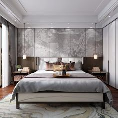 Decorated rooms: 60 ideas of environments to get right in the decoration - Home Fashion Trend Master Bedroom Interior, Home Bedroom, Modern Bedroom, Bedroom Decor, Home Room Design, Bed Design, Living Room Designs, Wallpaper Floor, Modern Chinese Interior