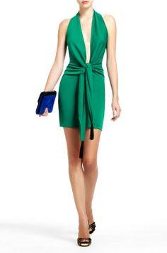 Gloria Govan Green BCBG-Lella-Plunge-Neckline-Dress
