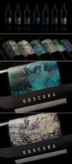 Obscura wine and champagne label design by Meghan Cook | Fivestar Branding Agency – Design and Branding Agency & Curated Inspiration Gallery  #wine #champagne #packaging #packagingdesign #packagingideas #packaginginspiration #package #packagedesign #branding #labeldesign