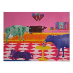 Colorful Ice Cream Cows frameable print