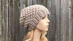 Chunky Knit Hat, Mens Hat, Womens Hat, Winter Hat, Knit Cap, Knit Beanie, Mens Beanie, Womens Beanie, Mossy Beanie, Greige Baby Knitting Patterns, Knitting Yarn, Hand Knitting, Crochet Patterns, Knit Or Crochet, Crochet Hats, Moss Stitch, Slouchy Beanie, Beanie Hats