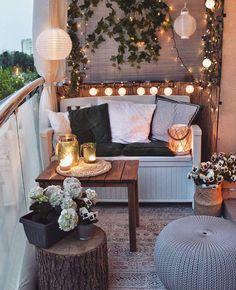 Apartment Balcony Decorating, Apartment Balconies, Porch Decorating, Decorating Ideas, Apartments Decorating, Decoration Bedroom, Diy Home Decor, Small Balcony Decor, Balcony Ideas