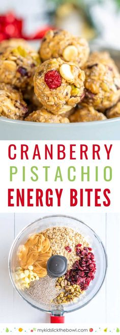 Christmas Cranberry Pistachio Energy Bites : No-bake bites with Cranberry, Pistachio, White Chocolate and Chia Seeds, perfect for Christmas. These energy balls make an easy snack for kids and adults alike Easy Snacks For Kids, Snacks For Work, Healthy Meals For Kids, Healthy Snacks For Kids, Work Lunches, Kids Meals, Healthy Homemade Snacks, Healthy Baking, Healthy Foods