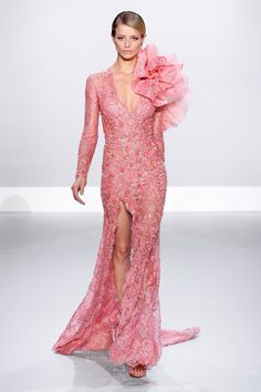 Salmon French Chantilly lace embellished gown with organza and lace flower.