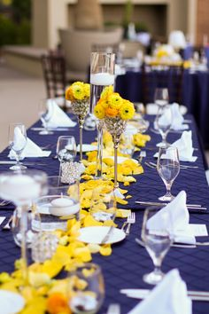 Westin Lake Las Vegas Wedding, navy pintuck linen, yellow floral, bling candle ideas, art deco wedding decor, outdoor Las Vegas wedding