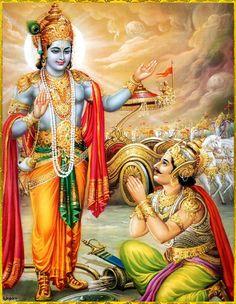 Sri Krishna instructs Arjuna at Kurukshetra  (Bhagavad Gita) Lord Krishna Wallpapers, Radha Krishna Wallpaper, Bhagavad Gita, Ayurveda, Arte Krishna, The Mahabharata, Lord Vishnu, Krishna Images, Krishna Pictures