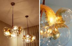 DIY bubble chandelier  634x409 20 DIY Chandeliers  Using Vintage Things