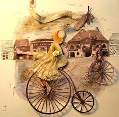 Gorgeous illustrations by the hungarian paintress Katalin Szegedi Bicycle Illustration, Cake Icing, Vegan Cake, Save Image, Collage, Creative, Painting, Illustrations, Inspiration