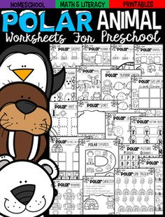 Polar Animal Math and Literacy Worksheets and Printables for Preschoolis a no prep packet packed full of worksheets and printables to help reinforce and build literacy and math skills in a fun, engaging way. This unit is perfect for the month of January.