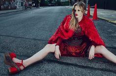 Anne Vyalitsyna wears platform heels in the fashion spread