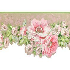 Cenefa de hortensias en tonos rosas y blancas, hojas verdes y fondo tostado metalizado.   La cenefa tiene el borde inferior troquelado siguiendo el contorno del motivo floral lo que acentúa su estilo romántico – clásico.