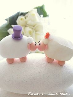 LOVE ANGELS Wedding Cake Topper-love sheep via Etsy