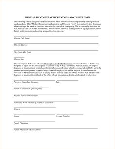 Minor Child Travel Consent Letter Medical Sample Authorization Example