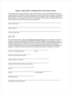 Medical Treatment Authorization Letter Procedure Template Sample Form Minor