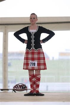 Kilt with black jacket #menzies #red #tartan