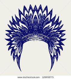 Native american indian headdress. Doodle style. Raster version by Aleks Melnik, via Shutterstock