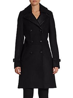 Double-Breasted Leather-Accented Coachman Coat