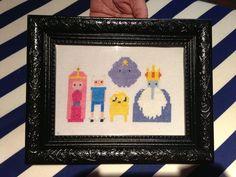 ADVENTURE TIME - Princess Bubblegum, Finn the Human, Jake the Dog, Ice King, Lumpy Space Princess Cross Stitch LITTLE RED STITCHES