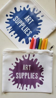 Make an Art Supplies Pouch with Cricut Infusible Ink and the Cricut machine Quick Crafts, Diy And Crafts, Diy House Projects, Craft Projects, Cricut Tutorials, Cricut Ideas, Recipe For Mom, Vinyl Crafts, Diy For Kids
