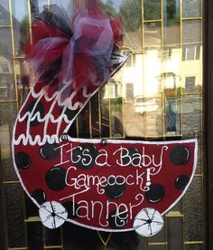 It's a Baby Gamecock Burlap Baby Carriage. Burlap Door Hanger Great way to Decorate for your Baby Gamecock