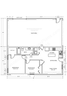 Pole Barn Floor Plans With Living Quarters Floor Plans Pole Barn House And Metal Shop With Living Quarters Metal Shop Plans Pole Barn Floor Plans With Living Quarters //Remove small bedroom move kitchen to that space -- add bath? Metal House Plans, Pole Barn House Plans, Garage House Plans, Pole Barn Homes, Shop House Plans, Barn Plans, Shop Plans, House Floor Plans, Pole Barns