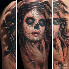 Dia De Los Muertos girl by Boris #InkedMagazine #dayofthedead #DiaDeLosMuertos #tattoo #tattoos #ink #inked