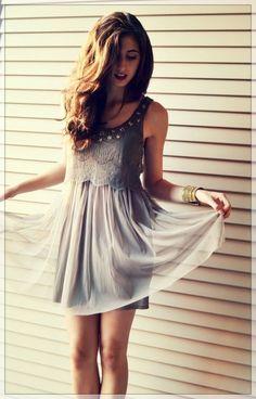 #street #style / gray chiffon dress