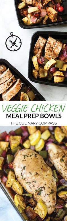 These Veggie Chicken Meal Prep Bowls are easy to make and perfect for both the first-time and veteran meal preppers! via @culinarycompass