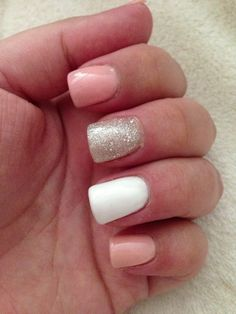 Pink, Glitter and White Acrylic Nails! This would match my hc dress so well!