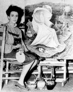 Leonora Carrington in her studio