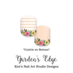"Garden's Edge PRE-ORDER: Jamberry Nail Art by KimsCustomNASdesigns If you want to get these beauties of your fingers and toes, head on over to my Etsy shop! Simply click on the image above and it will direct you right to the listing on Etsy! To see more of my designs and some special sales, join my Facebook group ""Kim's Nail Art Studio Designs"" at www.facebook.com/groups/925106354278688 Thanks for the interest in my designs!"
