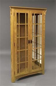 Amish Mission Style Corner Curio Cabinet