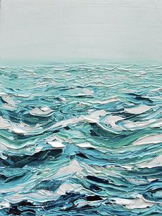 The ocean in acrylic. Slivers of navy, a mass of turquoise, white caps + baby blue shadows.