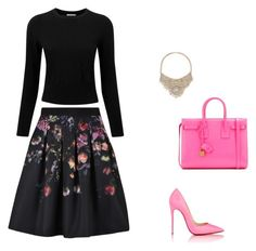 """chic"" by katerinaparask on Polyvore featuring Ted Baker, Pure Collection, Christian Louboutin, Yves Saint Laurent and Bebe"