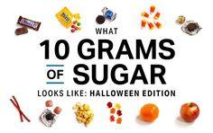 What 10 Grams of Sugar Looks Like [Halloween Edition] Spooky Treats, Halloween Treats, Under 300 Calories, Gram Of Sugar, Food Swap, Make Ahead Breakfast, Sugar Cravings, Portion Control, Dessert For Dinner