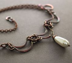 Layered scallop shape copper necklace with white by IngoDesign, $36.00