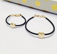 Image of Mommy and Me Jelly Heart Bracelet Set- in Black