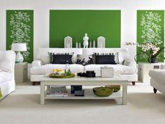 wandfarbe farbkombination grün farbideen wandgestaltung muster weiß
