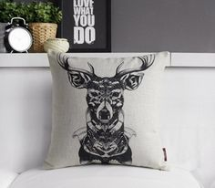 Picture of Nordic Indian Tribal Deer Pillow Cover Boho Indie Scandinavian Native